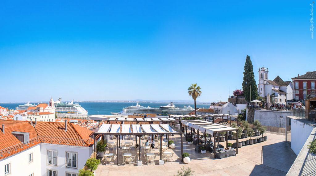 Lissabon Stadtpanorama mit Hafenblick