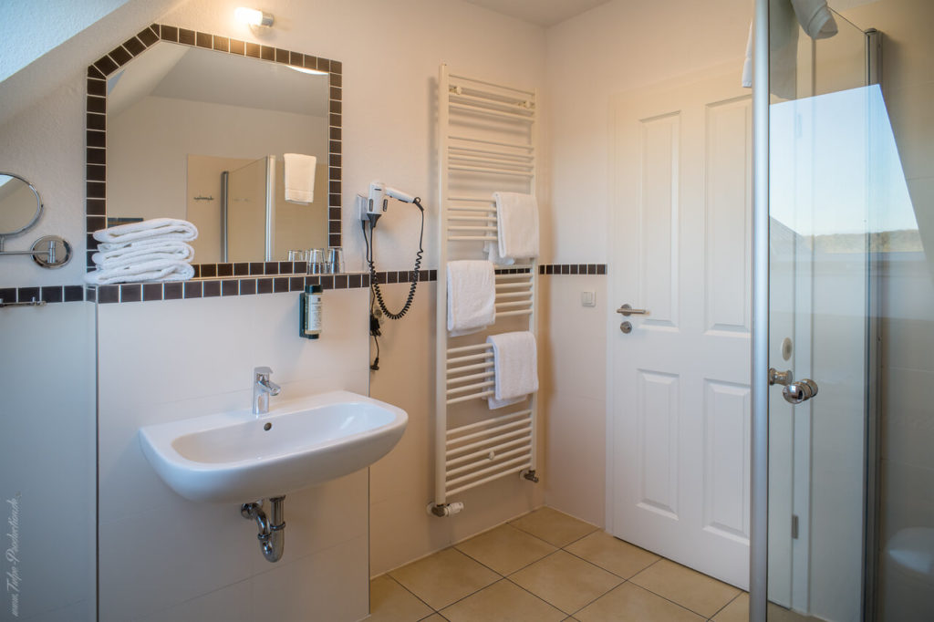 Badezimmer Ferienwohnung Aparthotel Strandhafer