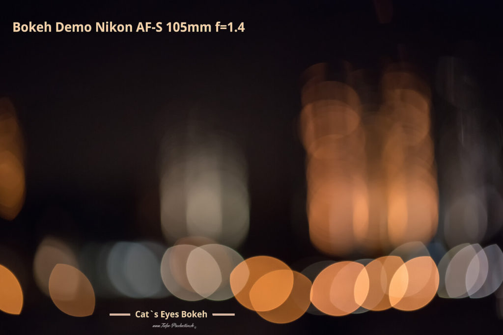 Bokeh Beispiel Cat´s Eyes Portraitobjektiv Nikon AF-S 105mm f=1.4
