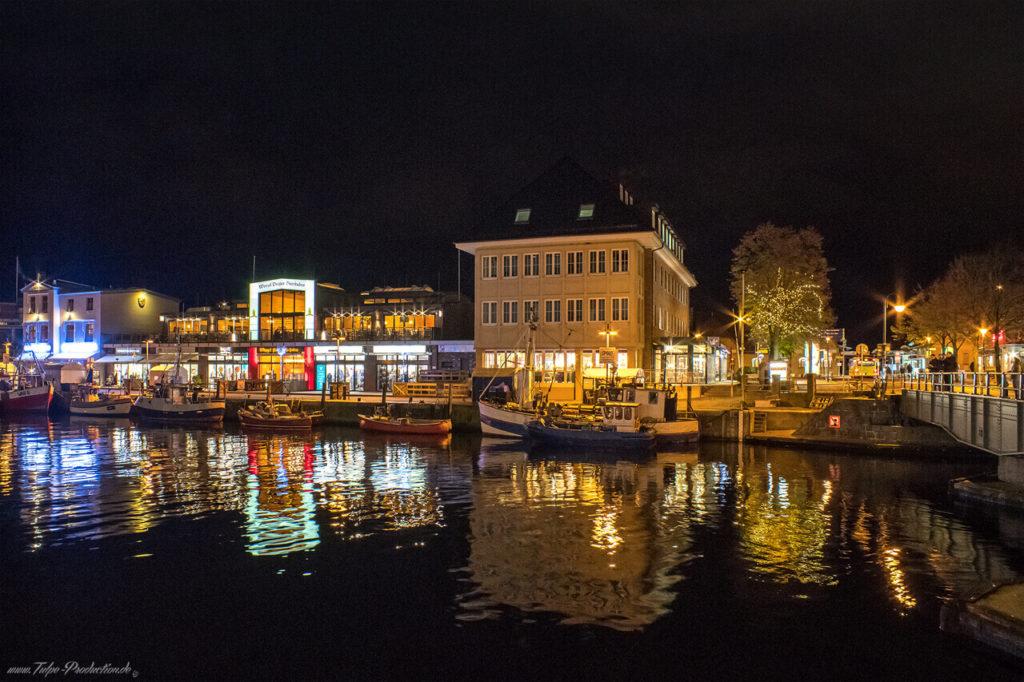 Nachts am Alten Stron in Warnemünde - 4km vom Hotel entfernt