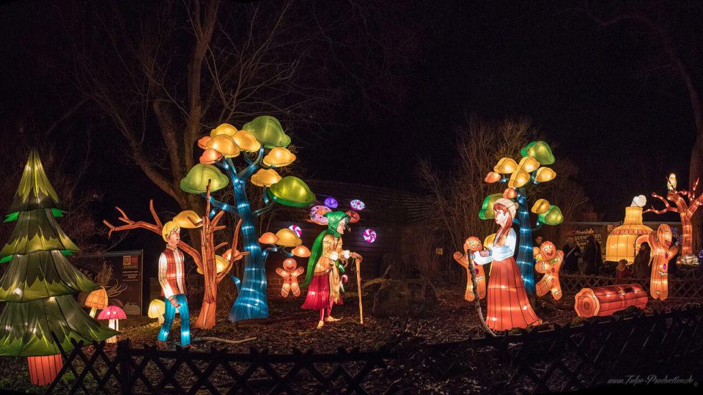 Hänsel und Gretel Lichtkunst Zoo Halle