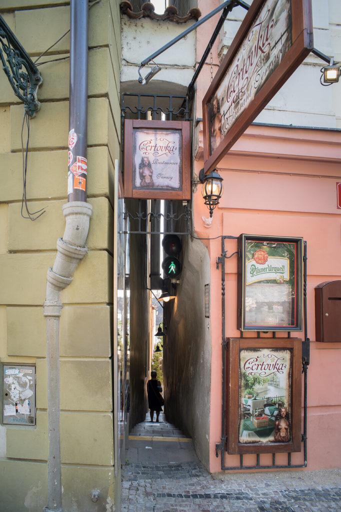 Reisebericht Prag - engste Straße mit Ampel