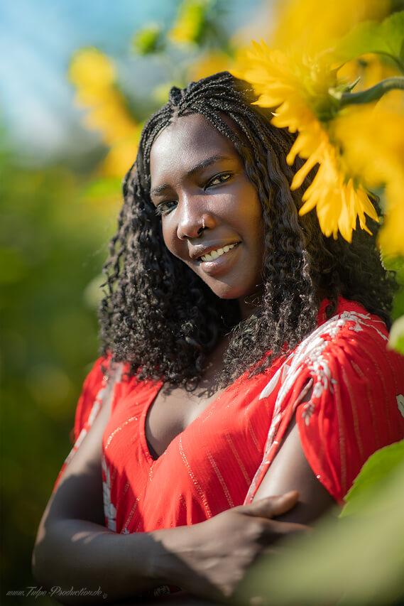 Portraitfotos mit Sonnenblumen